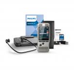 Philips Diktiergerät DPM7200 mit SpeechExec Dictate Software, Pedal, Kopfhörern, Akku, SD-Karte, USB-Kabel und Schutzhülle