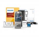 Philips Diktiergerät DPM8000 mit SpeechExec Pro Dictate Software, Ladestation, Handbuch, Akku, SD-Karte und USB-Kabel