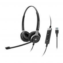 Sennheiser SC 660 USB ML Headset mit Bedienungstasten und USB-Kabel